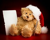 stock photo of mating bears  - A brown teddy bear wearing a Christmas hat sitting and writing a letter with wishes to Santa Claus isolated against a black and brown background - JPG