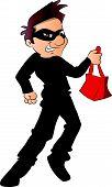 foto of stolen  - Vector illustration of a thief running with stolen handbag - JPG