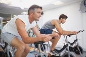 picture of exercise bike  - Fit people working out on the exercise bikes at the gym - JPG