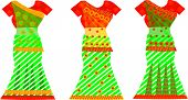 picture of underskirt  - Indian Dresses Female Colorful Sari Three vector illustration - JPG