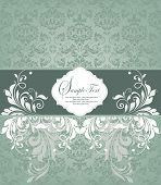 image of royal botanic gardens  - Vintage invitation card with ornate elegant retro abstract floral design white and teal green flowers and leaves on light teal background with ribbon label - JPG