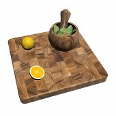picture of fruit platter  - Square wooden sushi platter with whole and sliced orange and mint leaves on a mortar and pestle 3d illustration isolated against a white background - JPG