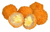 stock photo of scotch  - Mini bite size party savoury scotch eggs isolated on a white background - JPG