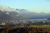 image of annecy  - Overview of Annecy city lake and snowed mountains in france - JPG