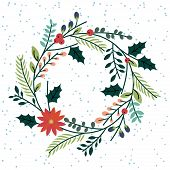pic of christmas wreath  - Floral or Botanical Christmas Wreath with Snow - JPG