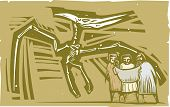 foto of pterodactyl  - Woodcut style image of Paleontologists studying a fossil of a pterodactyl dinosaur - JPG