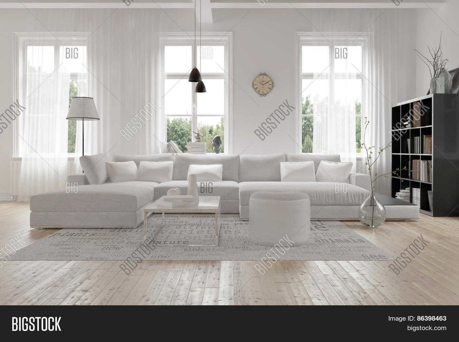 Modern Spacious Lounge Or Living Room Interior With