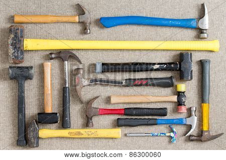Large Selection Of Different Hammers