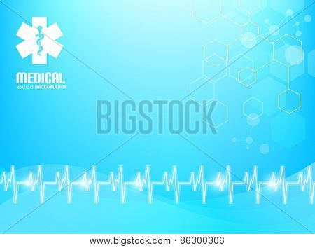 Blue abstract background suitable for materials about healthcare and medical topics.