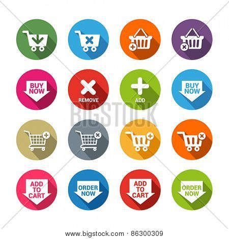 Collection of  buttons for e-shops or online apps in flat design style. They symbolize shopping,