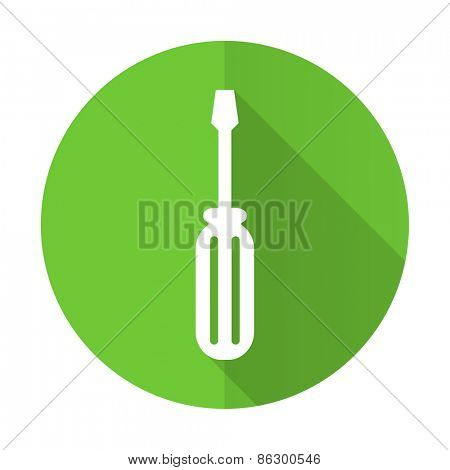 tools green flat icon service sign
