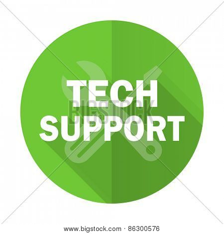 technical support green flat icon