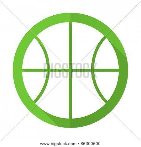 ball green flat icon basketball sign