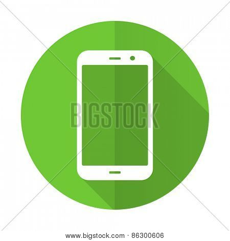 smartphone green flat icon phone sign