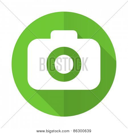 photo camera green flat icon photography sign