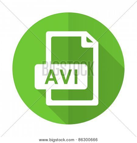 avi file green flat icon