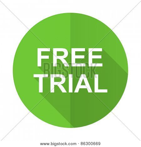 free trial green flat icon
