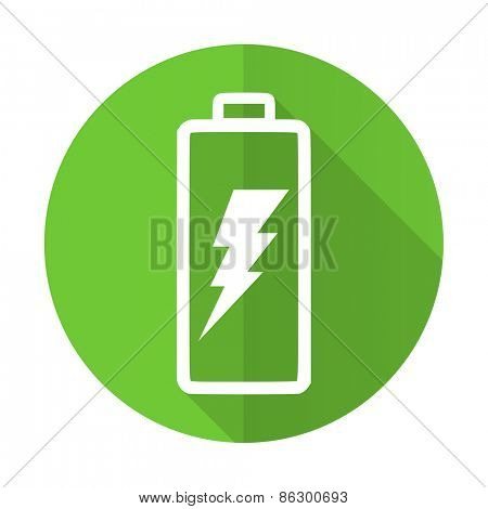 battery green flat icon power sign