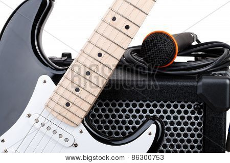 Guitar With Amplifier, Microphone And Audio Cord