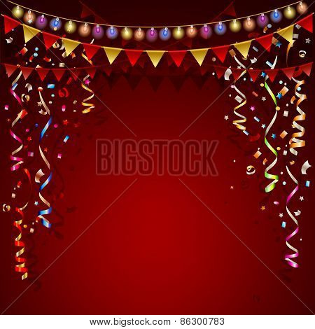 Festive Red background with  garland and colorful flags