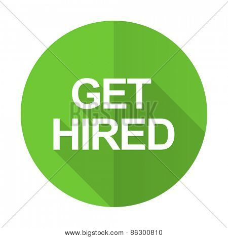 get hired green flat icon