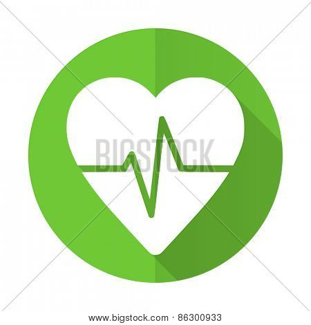 pulse green flat icon heart rate sign