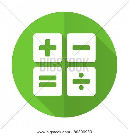 calculator green flat icon calc sign