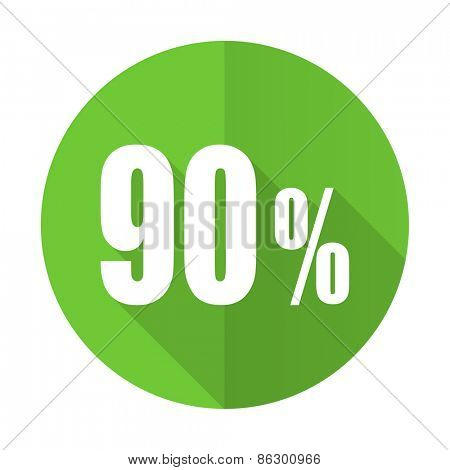 90 percent green flat icon sale sign