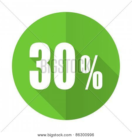 30 percent green flat icon sale sign