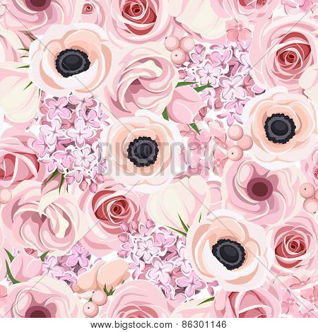 Seamless background with various pink flowers. Vector illustration.