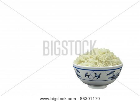 Bowl Of Natural Organic Cooked Jasmine Rice On White