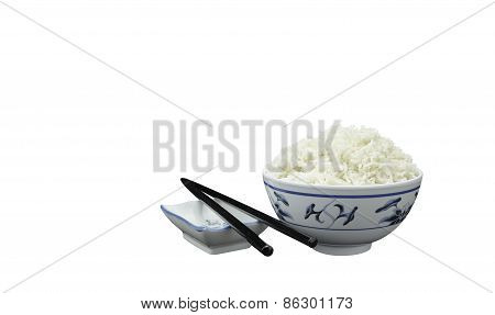Bowl Of Natural Organic Rice & Chopsticks