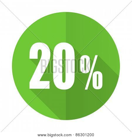 20 percent green flat icon sale sign
