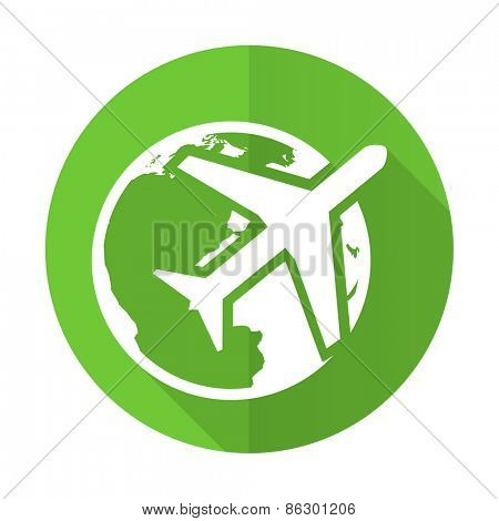 travel green flat icon