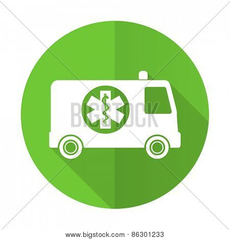 ambulance green flat icon