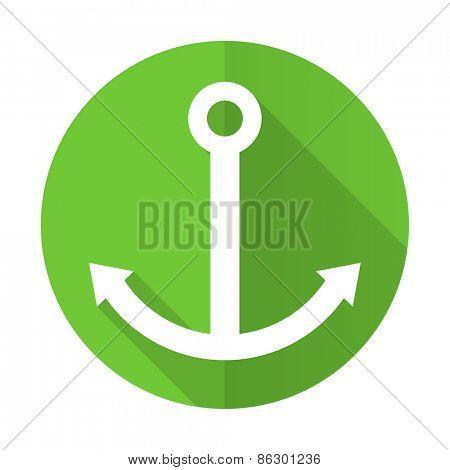anchor green flat icon sail sign