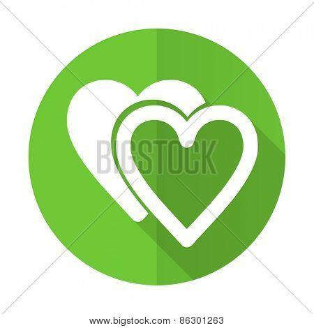 love green flat icon sign hearts symbol