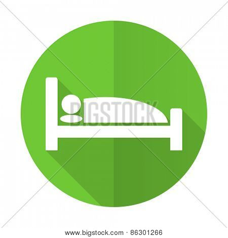 hotel green flat icon bed sign