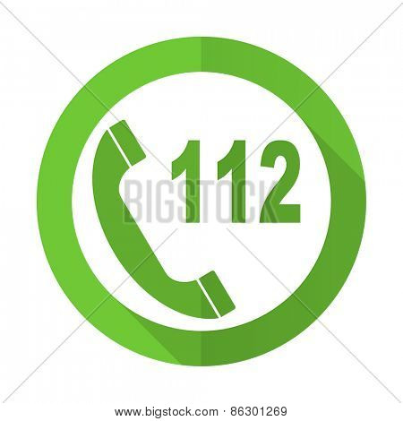 emergency call green flat icon 112 call sign