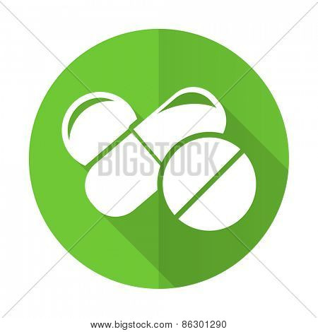 medicine green flat icon drugs symbol pills sign