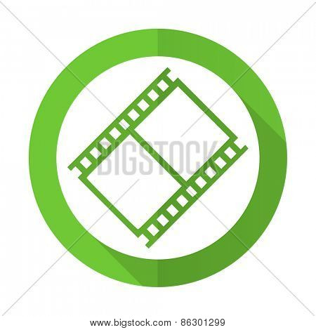 film green flat icon movie sign cinema symbol