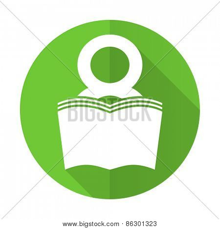 book green flat icon reading room sign bookshop symbol