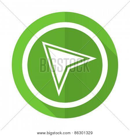 navigation green flat icon