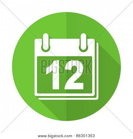 calendar green flat icon organizer sign agenda symbol