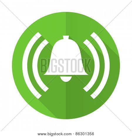 alarm green flat icon alert sign bell symbol