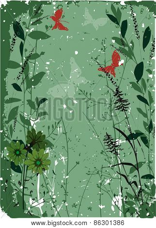 Grungy floral background with red butterflies