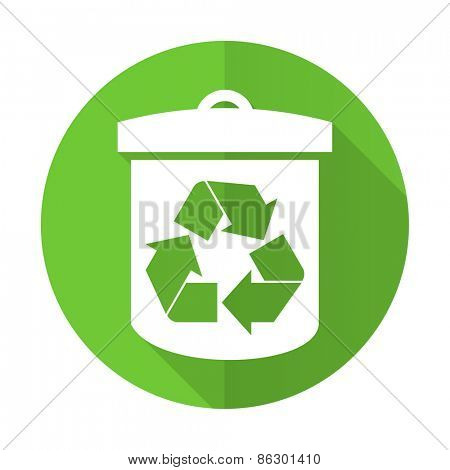 recycle green flat icon recycling sign