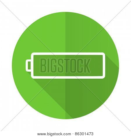 battery green flat icon charging symbol power sign