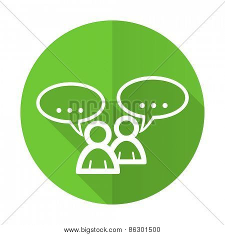 forum green flat icon chat symbol bubble sign
