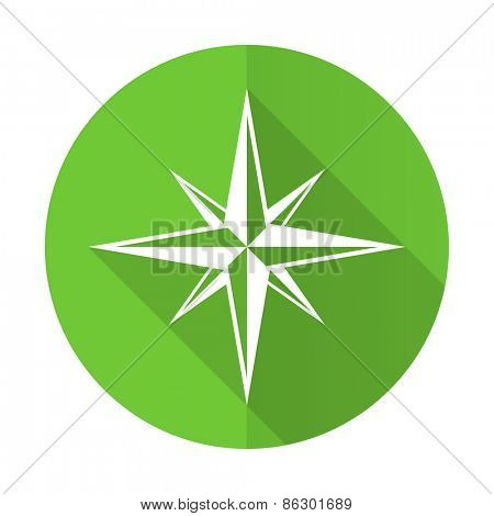 compass green flat icon